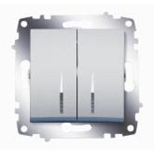 Выключатель 2 клавишный с подсветкой ABB Cosmo алюминий
