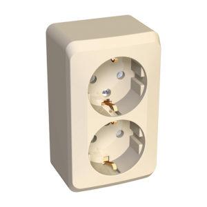 Двойная розетка с заземлением со шторками открытой установки Schneider Electric Этюд, цвет кремовый