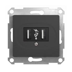 Механизм USB-розетки Schneider Electric GLOSSA, цвет антрацит