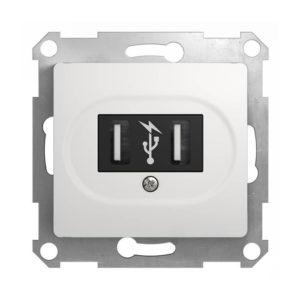 Механизм USB-розетки Schneider Electric GLOSSA, цвет белый