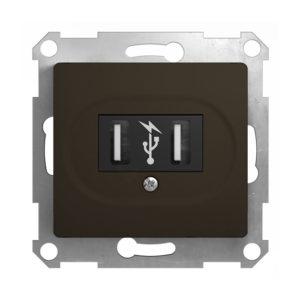 Механизм USB-розетки Schneider Electric GLOSSA, цвет шоколад