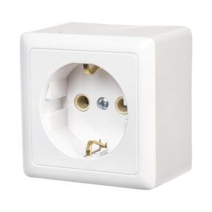 Розетка c заземлением без шторок и изолирующей пластиной открытой установки Schneider Electric Хит, цвет белый