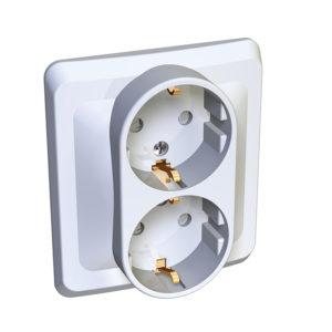 Двойная розетка с заземлением со шторками скрытой установки Schneider Electric Этюд, цвет белый