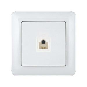 Розетка телефонная открытой установки Schneider Electric Хит, цвет белый