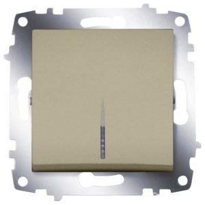 Выключатель 1 клавишный с подсветкой ABB Cosmo титаниум