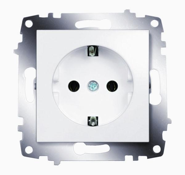 Розетка электрическая с заземлением ABB Cosmo белый