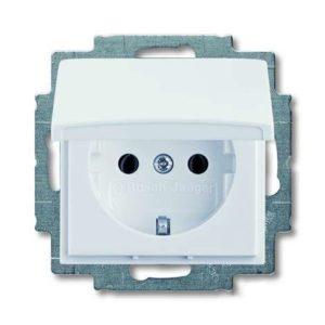Розетка с заземлением с крышкой с безвинтовыми зажимами ABB Basic 55, белый
