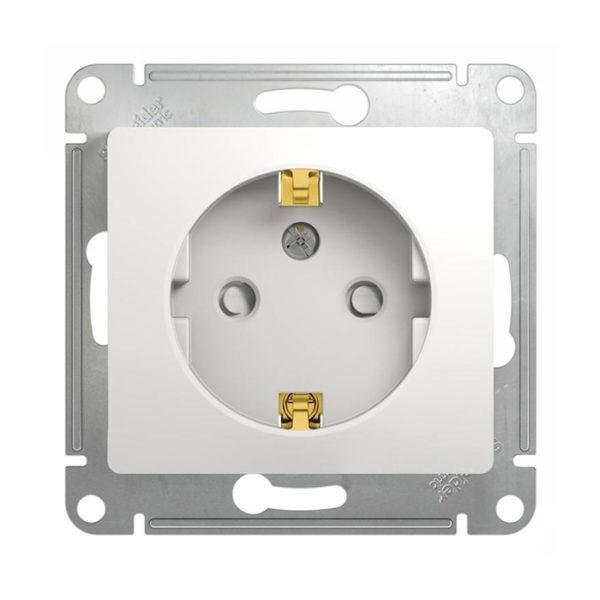 Механизм розетки с заземлением со шторками Schneider Electric GLOSSA, цвет белый