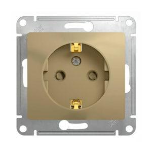 Механизм розетки с заземлением, со шторками Schneider Electric GLOSSA, цвет титан