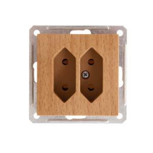 Механизм двойной розетки под плоские вилки Schneider Electric W59, цвет бук
