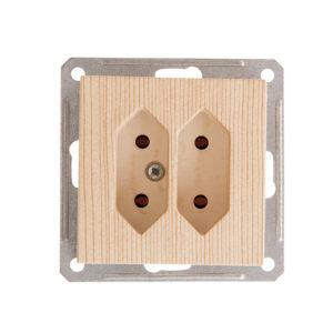 Механизм двойной розетки под плоские вилки Schneider Electric W59, цвет сосна