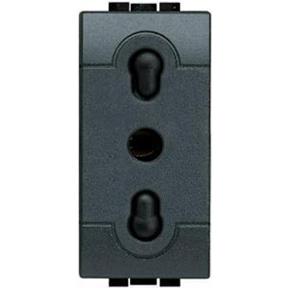Розетка LivingLight 2К+З, 10/16 А 250 В~ – расстояние между центрами отверстий 19 и 26 мм – с экранированными контактами, итальянский стандарт, 1 модуль