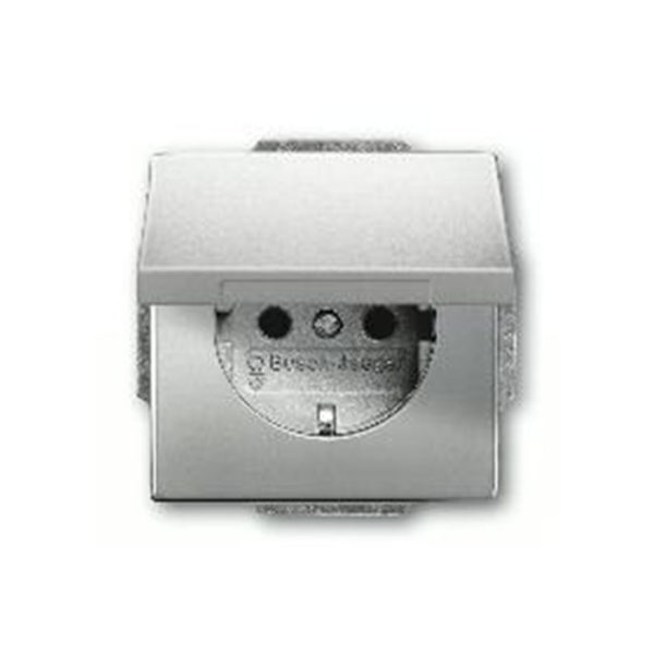 Розетка с заземлением с откидной крышкой ABB Pure сталь 16А/250В