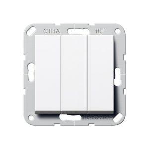 Выключатель трехклавишный проходной Gira, белый глянец