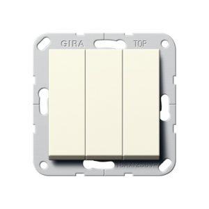 Выключатель трехклавишный Gira, кремовый глянец
