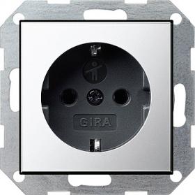 Розетка с заземлением Gira 16А/250В, хром/черный