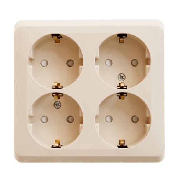 Тройная розетка с заземлением со шторками открытой установки Schneider Electric Этюд, цвет кремовый