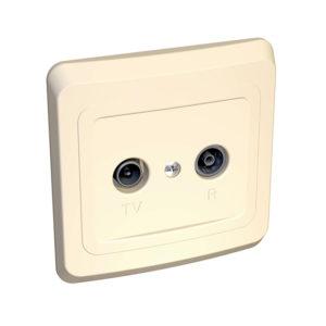 Двойная TV-R розетка скрытой установки Schneider Electric Этюд, цвет кремовый