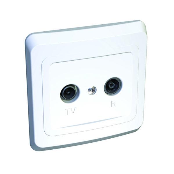 Двойная TV-R розетка скрытой установки Schneider Electric Этюд, цвет белый