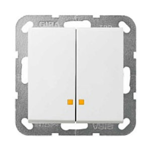 Выключатель 2 кл, с подсветкой - белый глянцевый, Gira System 55