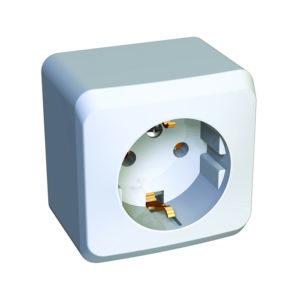 Розетка с заземлением без шторок открытой установки Schneider Electric Этюд, цвет белый