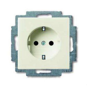 Розетка с заземлением с безвинтовыми зажимами ABB Basic 55, шале-белый