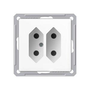 Механизм двойной розетки под плоские вилки Schneider Electric W59, цвет белый