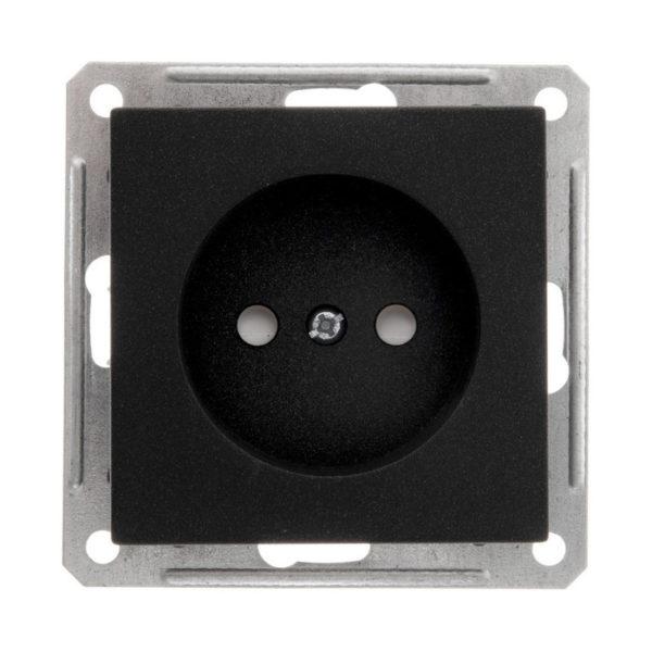 Механизм розетки без заземления со шторками Schneider Electric W59, цвет черный бархат