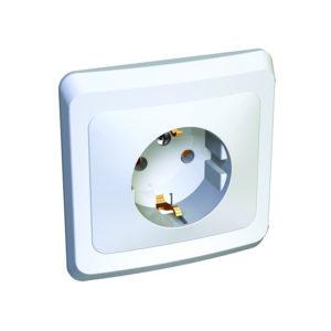 Розетка с заземлением без шторок скрытой установки Schneider Electric Этюд, цвет белый