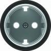 Розетка с заземлением со шторками с винтовыми клеммами ABB Skymoon, черное стекло