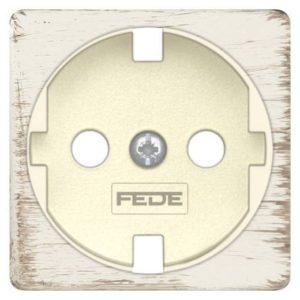 Розетка с заземлением Fede 10-16А/250В, винтовой зажим (белый декапо/бежевый)
