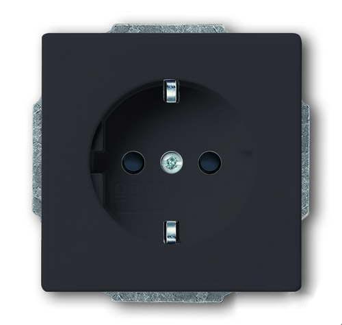 Розетка электрическая с защитными шторками ABB Dynasty , безвинтовые клеммы (антрацит)