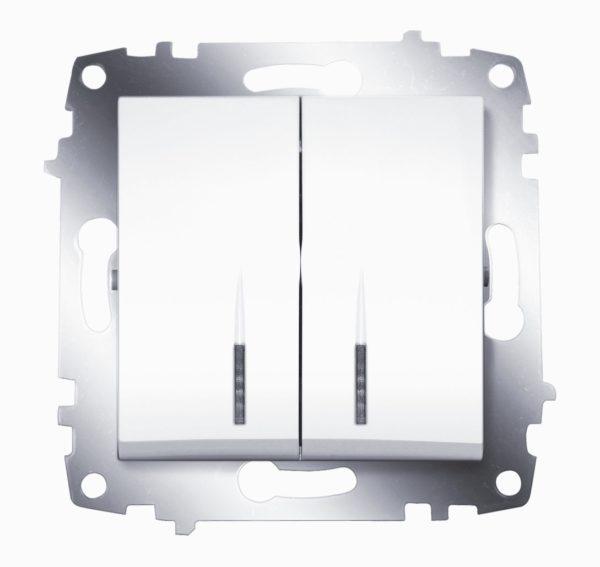 Выключатель 2 клавишный с подсветкой ABB Cosmo белый