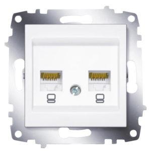 Розетка компьютерная 2-ая rj 45 6 кат. ABB Cosmo белый