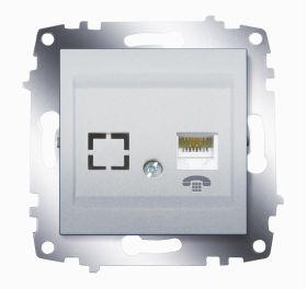 Розетка телефонная одинарная ABB Cosmo алюминий