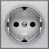 Розетка с заземлением со шторками с безвинтовыми клеммами ABB Sky, серебряный