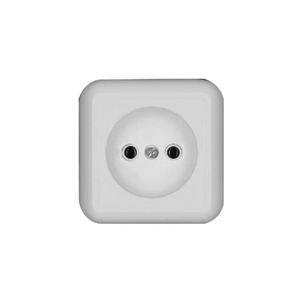 Розетка без заземления без шторок с монтажной пластиной открытой установки Schneider Electric Прима, цвет белый