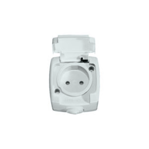 Розетка без заземления без шторок IP44 открытой установки Schneider Electric Рондо, цвет белый