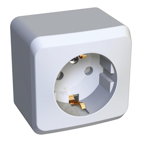 Розетка с заземлением со шторками открытой установки Schneider Electric Этюд, цвет белый