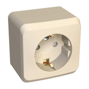 Розетка с заземлением со шторками открытой установки Schneider Electric Этюд, цвет кремовый