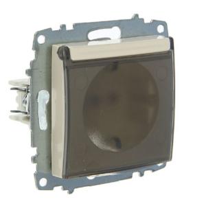 Розетка электрическая с заземлением с крышкой ABB Cosmo титаниум
