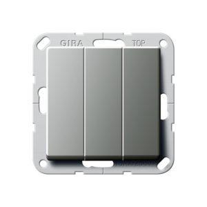 Выключатель трехклавишный Gira, нержавеющая сталь