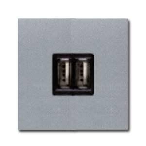 Розетка USB двойная для зарядки ABB Niessen Zenit 2х750 мА/1х1500 мА, серебристый