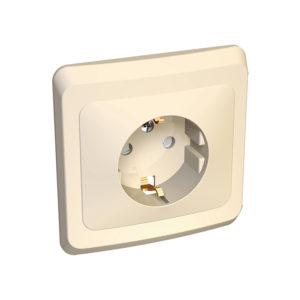 Розетка с заземлением со шторками скрытой установки Schneider Electric Этюд, цвет кремовый