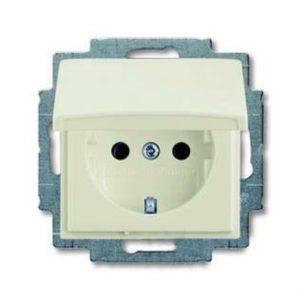Розетка с заземлением с крышкой с безвинтовыми зажимами ABB Basic 55, шале-белый