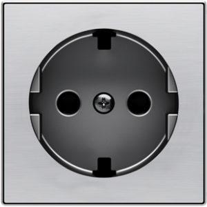 Розетка с заземлением со шторками плоская с винтовыми клеммами ABB Sky, нержавеющая сталь