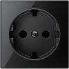 Розетка с заземлением со шторками плоская с винтовыми клеммами ABB Sky, черное стекло