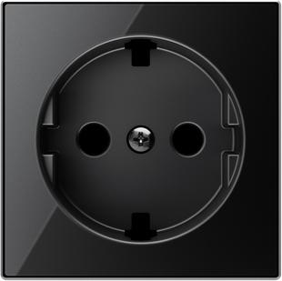 Розетка с заземлением со шторками с безвинтовыми клеммами ABB Sky, черное стекло