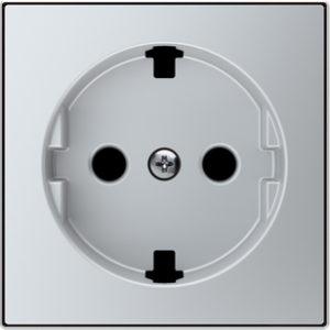 Розетка с заземлением со шторками плоская с винтовыми клеммами ABB Sky, серебряный
