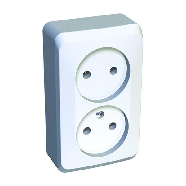 Двойная розетка без заземления без шторок открытой установки Schneider Electric Этюд, цвет белый